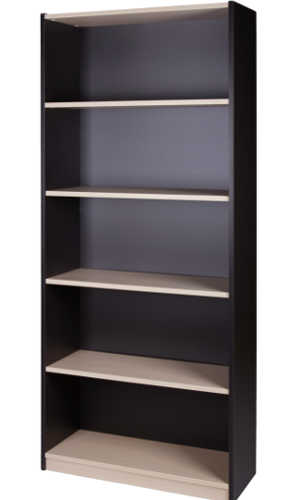 10007-0102 Bookcase 5 Tier 1800h x 800w x 300d Washed Maple Carbon
