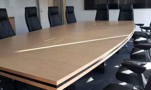 Custom Boardroom Table Aged Ash with Black Steel Base 2