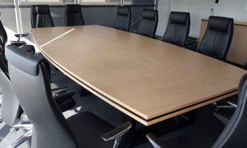 Custom Boardroom Table Aged Ash with Black Steel Base