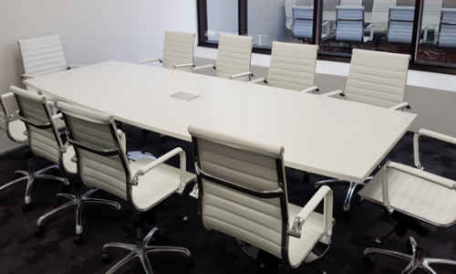 Custom Boardroom Table White with Chrome Pedestal Bases