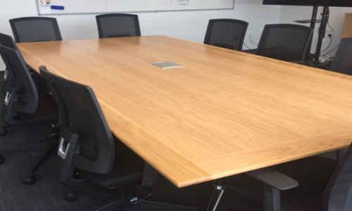 Veneer Boardroom Table With Chrome Frame