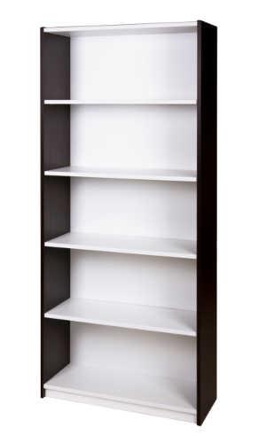 10007-0304-Bookcase-5-tier-1800h-x-800w-x-300d-Simply-White-Ebony-Oak